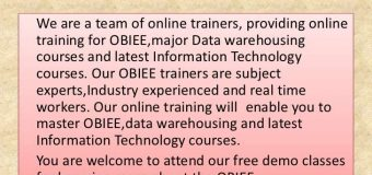 Basic concepts of OBIEE Online Training