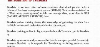 TERADATA Basics and learn online teradata