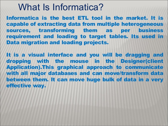 What is Informatica and informatica ETL Tool for data